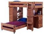 Twin Over Twin Student Loft Bed with Desk and Chest Ends - Mahogany Stain [315015-FS-CHEL]
