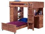 Twin Over Twin Student Loft Bed with Panel HB/FB and Desk and Chest Ends - Mahogany Stain [315040-FS-CHEL]