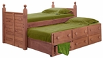 Twin Panel Post Bed with Twin Trundle Unit - Mahogany Stain [31950-T-FS-CHEL]