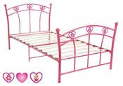 Twin Pink Complete Youth Metal Bed