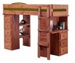 Twin Student Loft Bed with Desk and Chest Ends - Mahogany Stain [315025-FS-CHEL]
