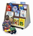 Two Sided Mobile Book Display with Ten Shelves and Heavy Duty Casters [WB0139-FS-WBR]