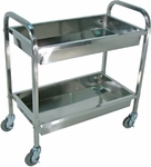 Stainless Steel 2 Shelf Transport Tub Cart with 4''D Tub Shelves - 33.5''W x 17.5''D x 35.5''H [SST2S-FS-LUX]