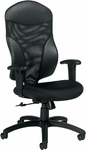 Tye QuickShip High Back Fabric and Mesh Tilter Management Chair - Black [1950-4-JN02-550-FS-GLO]