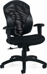 Tye QuickShip Medium Back Mesh Tilter Management Chair - Black [1951-4-JN02-550-FS-GLO]