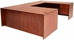 Legacy Wooden Double Locking Pedestal U-Desk with 47'' Bridge - Cherry [LUD7135CH-FS-REG]