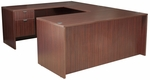 Legacy Wooden Double Locking Pedestal U-Desk with 47'' Bridge - Mahogany [LUD7135MH-FS-REG]