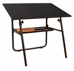 Ultima Height Adjustable Fold-A-Way Drafting Table with Removable Storage Tray - Black [19652-FS-SDI]