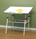 Ultima Height Adjustable Fold-A-Way Drafting Table with Removable Storage Tray - White [19653-FS-SDI]
