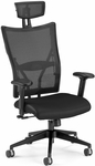 Talisto Executive High-Back Leather and Mesh Chair with Headrest -Black [590-L-BLACK-FS-MFO]