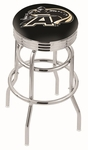 United States Military Academy 25'' Chrome Finish Double Ring Swivel Backless Counter Height Stool with Ribbed Accent Ring [L7C3C25USMILA-FS-HOB]