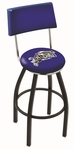 United States Naval Academy 25'' Black Wrinkle Finish Swivel Counter Height Stool with Cushioned Back [L8B425USNAVA-FS-HOB]