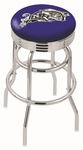 United States Naval Academy 25'' Chrome Finish Double Ring Swivel Backless Counter Height Stool with Ribbed Accent Ring [L7C3C25USNAVA-FS-HOB]