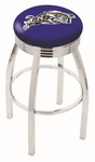 United States Naval Academy 25'' Chrome Finish Swivel Backless Counter Height Stool with 2.5'' Ribbed Accent Ring [L8C3C25USNAVA-FS-HOB]