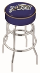 United States Naval Academy 25'' Chrome Finish Double Ring Swivel Backless Counter Height Stool with 4'' Thick Seat [L7C125USNAVA-FS-HOB]