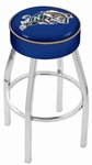 United States Naval Academy 25'' Chrome Finish Swivel Backless Counter Height Stool with 4'' Thick Seat [L8C125USNAVA-FS-HOB]