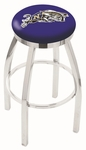 United States Naval Academy 25'' Chrome Finish Swivel Backless Counter Height Stool with Accent Ring [L8C2C25USNAVA-FS-HOB]