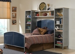 Brayden Metal Mesh Two Piece Bedroom Set with Rails and Wall Unit - Twin - Silver and Navy [1178371BFWS-FS-HILL]