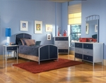 Brayden 5 Piece Metal Mesh Bedroom Group Includes Bed, Nightstand, Dresser, and Mirror - Full - Silver and Navy [1178471WSS4-FS-HILL]