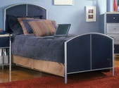 Brayden Metal Mesh Bed Set with Rails - Full - Silver and Navy