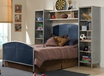 Brayden Metal Mesh Two Piece Bedroom Set with Rails and Wall Unit - Full - Silver and Navy [1178471BFWS-FS-HILL]