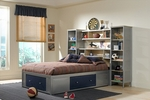 Brayden 4 Piece Metal Mesh Bedroom Group Includes Bed with Bookcase Headboard and Storage Platform, Nightstand, Dresser, and Mirror - Full - Silver and Navy [1178472S4-FS-HILL]