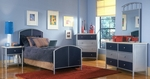 Brayden 4 Piece Metal Mesh Bedroom Group Includes Bed, Nightstand,  Dresser, and Mirror - Full - Silver and Navy [1177BFRSET4-FS-HILL]