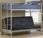 Brayden Metal Futon Bunk Bed with Twin Top Bunk - Silver [1178BBF-FS-HILL]