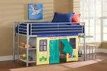 Brayden Metal Junior Loft Bed with Desk and Stool - Twin - Silver [1178JRLBDS-FS-HILL]