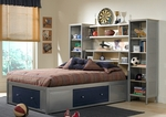 Brayden Metal Mesh Bedroom Group Includes Bed with Bookcase Headboard, Storage Platform, and Wall Unit - Twin - Silver and Navy [1178372STGWP-FS-HILL]