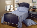 Brayden Metal Mesh Bed Set with Rails - Twin - Silver and Navy [1177BTR-FS-HILL]