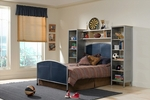 Brayden 5 Piece Metal Mesh Bedroom Group Includes Bed, Nightstand, Dresser, and Mirror - Twin - Silver and Navy [1178371WSS4-FS-HILL]
