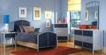Brayden 5 Piece Metal Mesh Bedroom Group Includes Bed, Nightstand, Dresser, Mirror, and Chest - Twin - Silver and Navy [1177BTRSET5-FS-HILL]