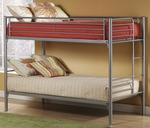 Brayden 3 Piece Metal Mesh Bedroom Group Includes Bunk Bed, Dresser, and Mirror - Twin - Silver and Navy [1178BBDM-FS-HILL]