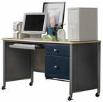 Brayden Metal Mesh 41.5''W x 61.25''H Youth Desk - Silver and Navy [1178-790A-FS-HILL]