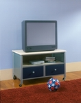 Brayden Metal Mesh 34''W x 43''H Youth TV Stand - Silver and Navy [1177-779A-FS-HILL]