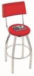 University of Alabama 25'' Chrome Finish Swivel Counter Height Stool with Cushioned Back [L8C425AL-ELE-FS-HOB]