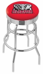 University of Alabama 25'' Chrome Finish Double Ring Swivel Backless Counter Height Stool with Ribbed Accent Ring [L7C3C25AL-ELE-FS-HOB]