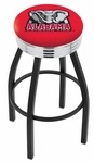 University of Alabama 25'' Black Wrinkle Finish Swivel Backless Counter Height Stool with Ribbed Accent Ring [L8B3C25AL-ELE-FS-HOB]
