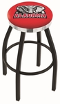 University of Alabama 25'' Black Wrinkle Finish Swivel Backless Counter Height Stool with Chrome Accent Ring [L8B2C25AL-ELE-FS-HOB]