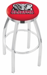 University of Alabama 25'' Chrome Finish Swivel Backless Counter Height Stool with Accent Ring [L8C2C25AL-ELE-FS-HOB]