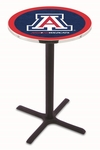 University of Arizona 36''H Black Wrinkle Finish Counter Height Pub Table with X-Base [L211B36ARIZUN-FS-HOB]
