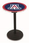 University of Arizona 36''H Black Wrinkle Finish Counter Height Pub Table with Round Base [L214B36ARIZUN-FS-HOB]