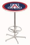 University of Arizona 42''H Chrome Finish Bar Height Pub Table with Foot Ring [L216C42ARIZUN-FS-HOB]