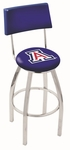 University of Arizona 25'' Chrome Finish Swivel Counter Height Stool with Cushioned Back [L8C425ARIZUN-FS-HOB]