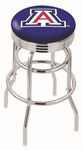 University of Arizona 25'' Chrome Finish Double Ring Swivel Backless Counter Height Stool with Ribbed Accent Ring [L7C3C25ARIZUN-FS-HOB]