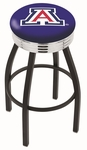 University of Arizona 25'' Black Wrinkle Finish Swivel Backless Counter Height Stool with Ribbed Accent Ring [L8B3C25ARIZUN-FS-HOB]