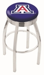 University of Arizona 25'' Chrome Finish Swivel Backless Counter Height Stool with 2.5'' Ribbed Accent Ring [L8C3C25ARIZUN-FS-HOB]