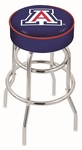 University of Arizona 25'' Chrome Finish Double Ring Swivel Backless Counter Height Stool with 4'' Thick Seat [L7C125ARIZUN-FS-HOB]