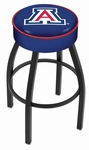 University of Arizona 25'' Black Wrinkle Finish Swivel Backless Counter Height Stool with 4'' Thick Seat [L8B125ARIZUN-FS-HOB]